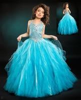 Girls Pageant Gown 2015 Free Shipping Vestido de Primeira Comunhao Ball Gown Blue Flower Girl Tutu Dress