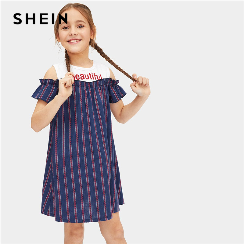 SHEIN Kiddie Navy Open Shoulder Frill Trapeze Striped Shift Casual Dress Toddler Girls Clothes Summer Girl Mini Kids Dresses plus open front vertical striped kimono