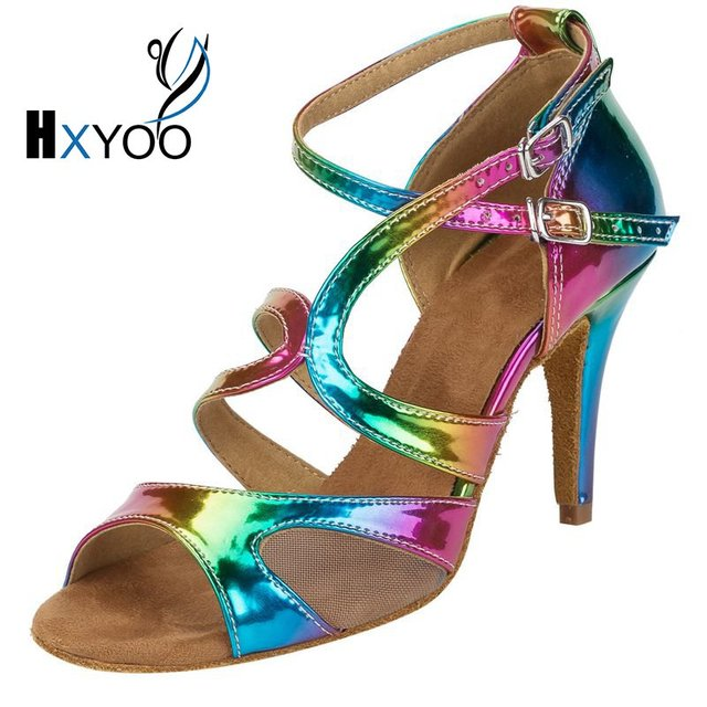 494301958bd3 HXYOO 2018 New Arrived Glitter Rainbow Colorful Salsa Dance Shoes Women  Latin Ballroom Sandal Tango Dance Ladies Soft Sole WK023