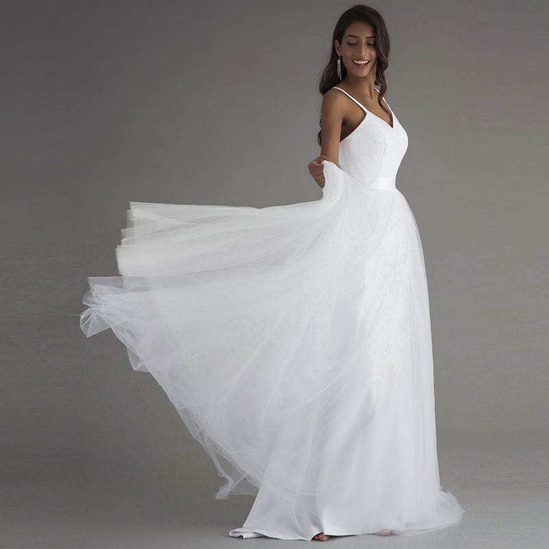 LORIE Spaghetti Strap Beach Wedding Dresses 2019 Vestido Noiva Praia Simple White Tulle Casamento Lace Real Photo Bridal Gowns