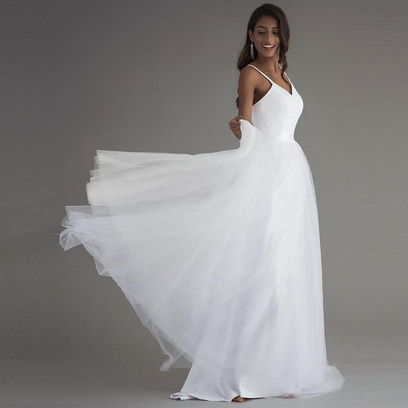 LORIE Spaghetti Strap Beach Wedding Dresses 2019 Vestido Noiva Praia Simple White Tulle Casamento Lace Real Photo Bridal Gowns