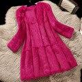 Bolsillo de piel de conejo abrigos mujer otoño invierno delgado medio-largo completo pelt piel real abrigo prendas de vestir exteriores de la chaqueta más el tamaño g7291