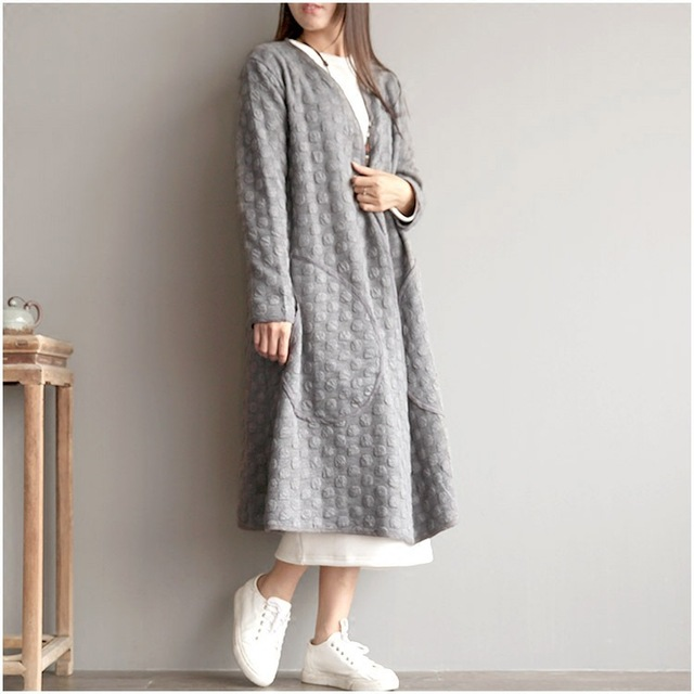 Women Autumn Spring Loose Trench Coat Female Vintage Wave Plus size Open Stitch Overcoat Double Layer Big Pocket Cardigan Coat