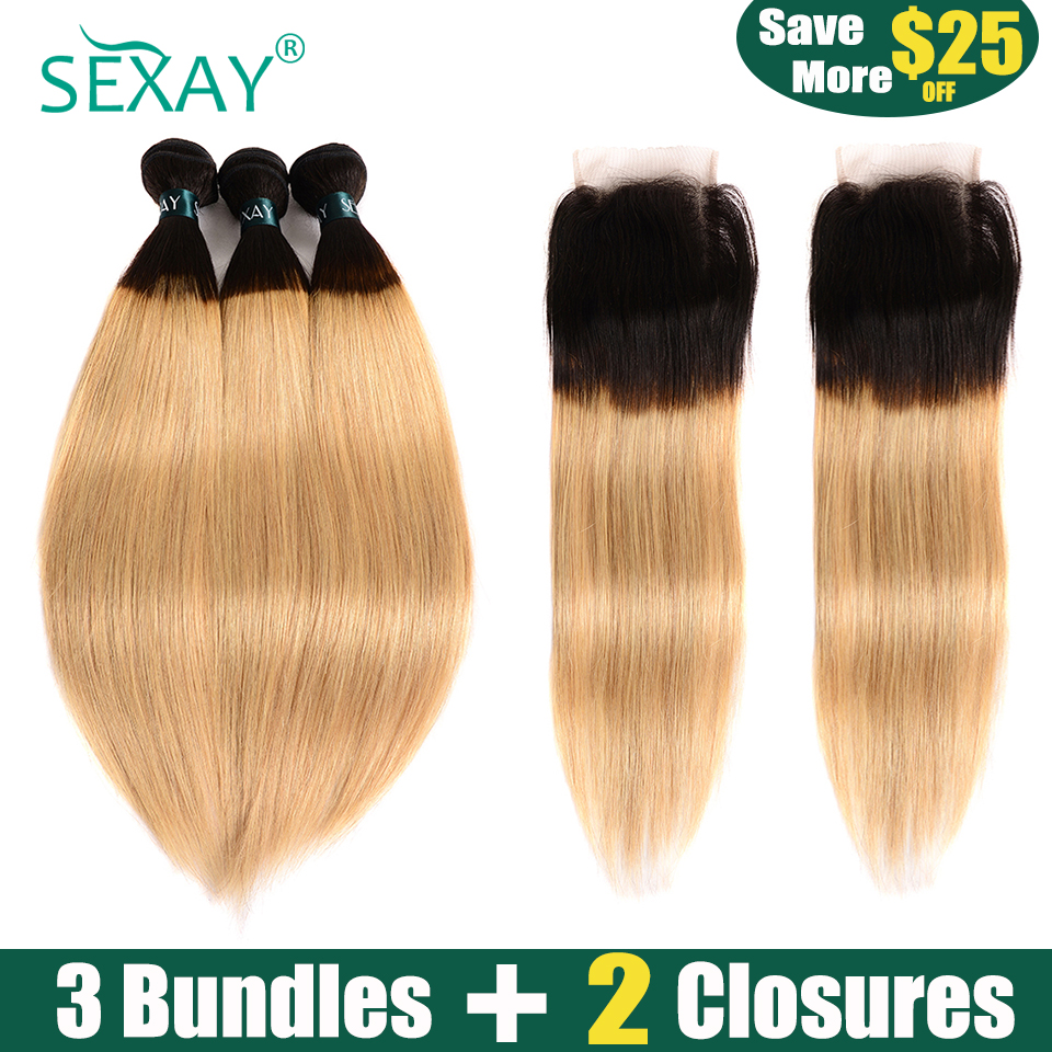 SEXAY Blonde Bundles With Closures #1B/27 Color Non Remy Human Hair 3 Bundles With 2PCS Closures Ombre Bundles With Closures