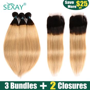 SEXAY Blonde Bundles With Closures #1B/27 Pre Colored Remy Human Hair 3 Bundles With 2PCS Closures Ombre Bundles With Closures