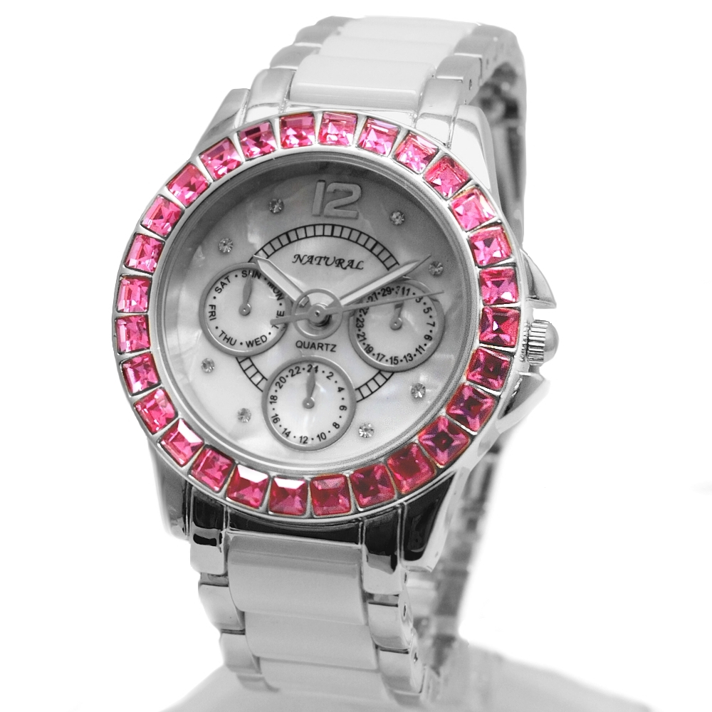 FW830R New Shiny Silver Band White Dial Ceramic Rose Pink Crystal Bracelet Watch