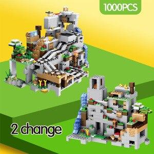 Image 2 - Bloques de construcción de la cueva de la montaña para niños, ascensor, cascada, figuras, juguetes educativos, regalos, 1000 Uds.
