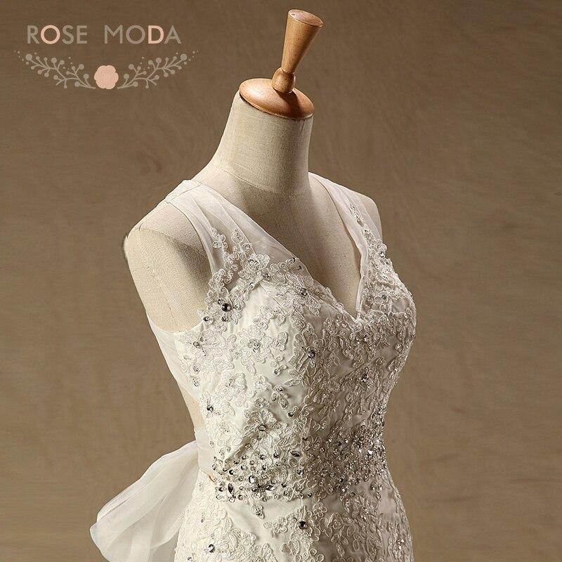 ausschnitt Rücken Moda Made Fotos Spitze Echt V Custom Hochzeitskleid Brautkleid Meerjungfrau Destination Rose Brautkleider Gekreuzter ZdgxqYwg4