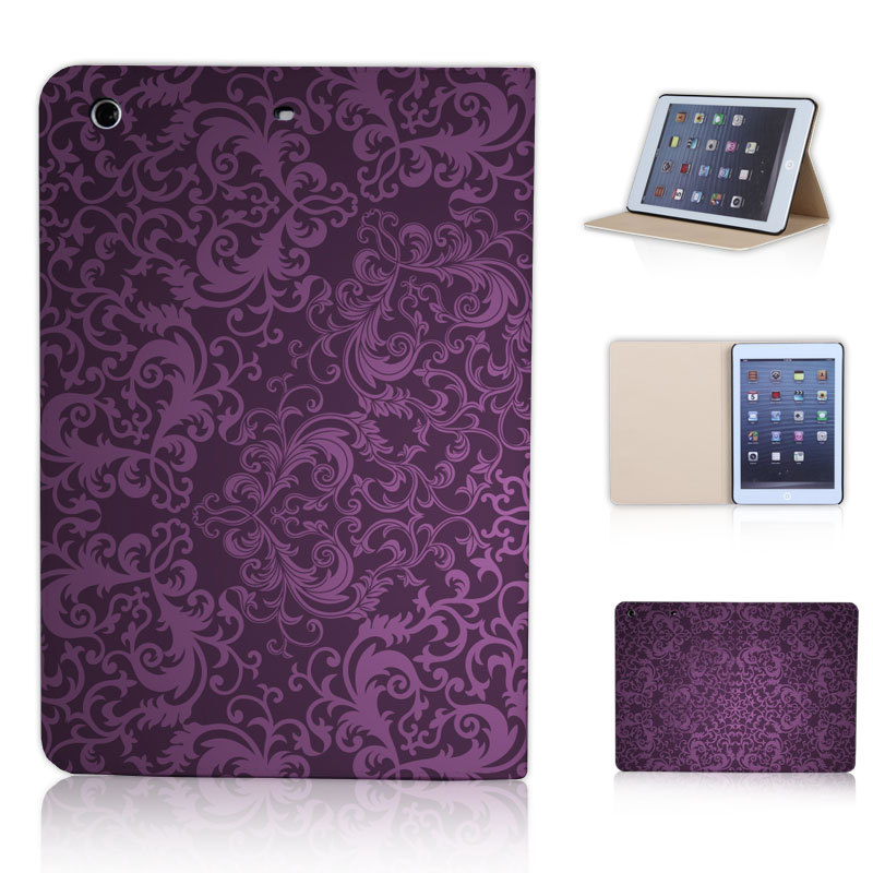 BTD Carved Damask Vintage Pattern Purple Leather Stand Case Skin For ipad mini 2 3 with retina Free Screen Film P030-ip-mini
