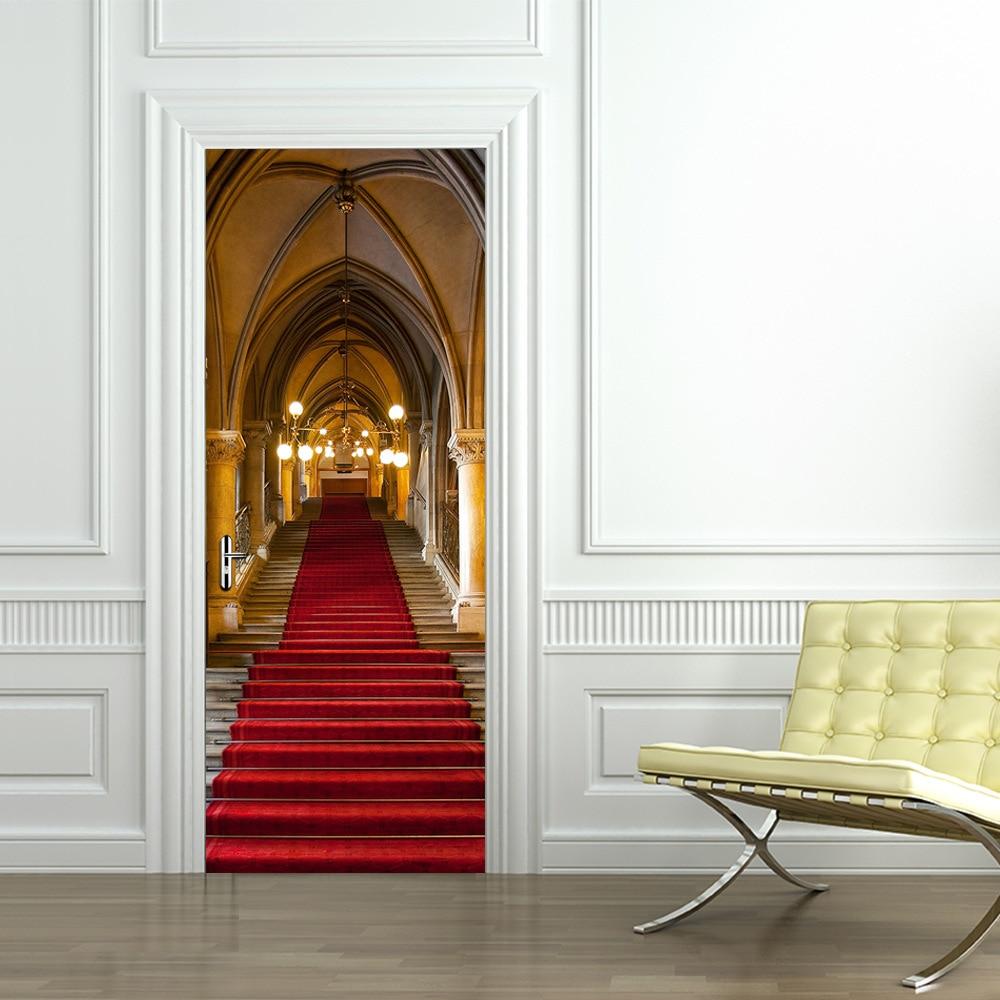 Funlife Gothic Castle Ladder Imitation 3d Door Sticker Creative Decorative Accessories Living Room Self Adhesive