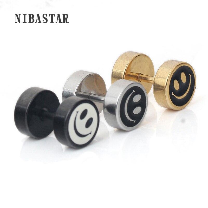 Stainless Steel Men Smiley Stud Earring Fake Ear Plugs Piercing Body Jewelrys Gifts