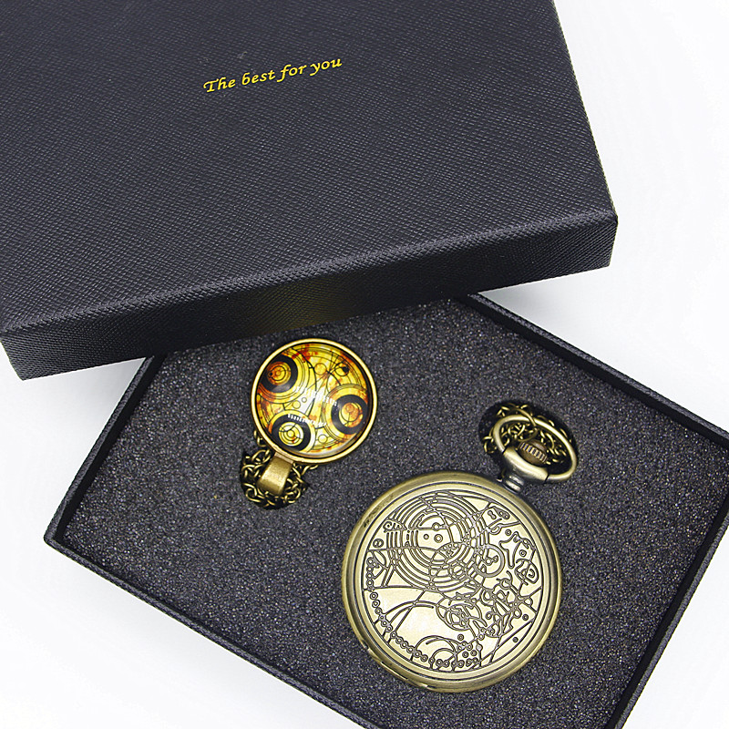 Doctor Who Theme Series Pocket Watch Chain Watches Dr Who Fans Sets Men Women Watch Necklace Pendant Gift With Box TPB036