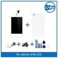 Branco Display LCD + Touch Screen Digitador + Vidro Voltar Habitação capa + home button peça de reposição para o iphone 4s & ferramentas de parafuso