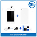 White LCD Display + Touch Screen Digitizer + Glass Back Housing Cover + Home Button Replacement part For iPhone 4S &Screw Tools