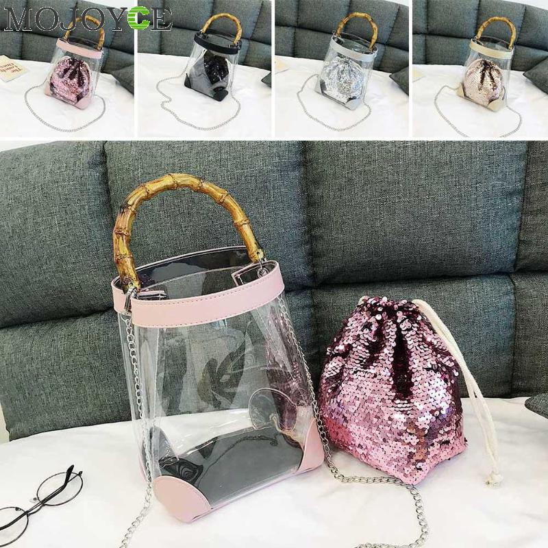 цены Ladies Bucket Style Fashion Clear Bag Original Designed Silver Glitter Evening Bags Glitter Sequined Composite Shoulder Bag 2018