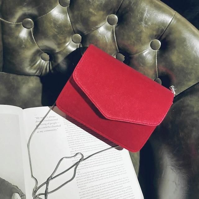 Fashion Women Evening Shoulder Bag Bridal Clutch Chain Velvet Silk Bottom Handbag Elegant Party Bags Wedding Lady Messenger Bag 4