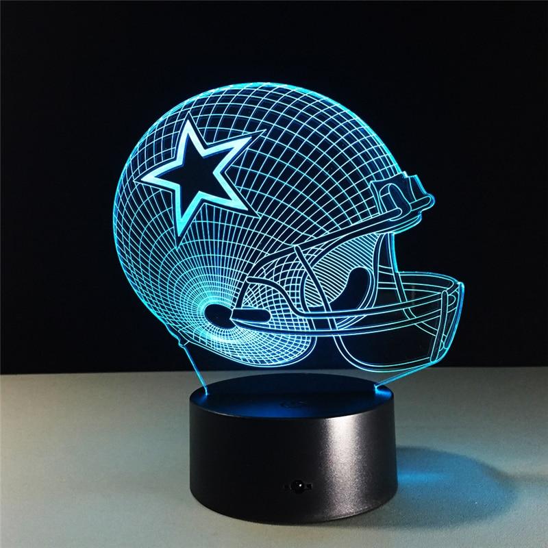 Dallas Cowboys Helmet lamparas 3d led lamp 7 Colors Change acrylic USB LED Table Lamp Kids Gift Creative Night Lamp Home Decor