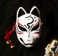 Pintado A mano Japonés PVC Fox Kitsune Maestro Gato Negro Cosplay de La Cara Llena Máscara Decorativa Colección Fiesta de Halloween
