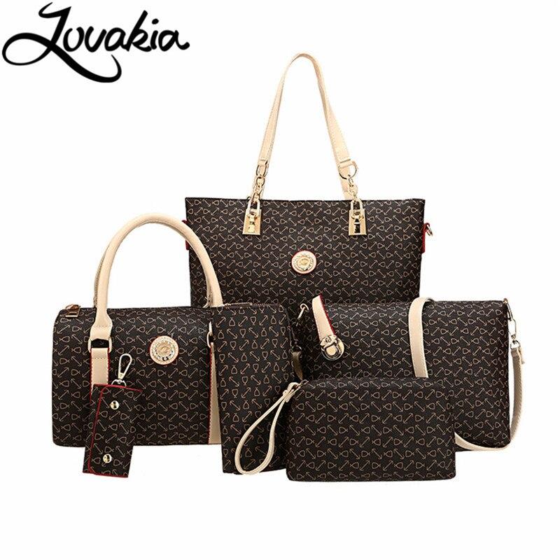 LOVAKIA 6 sets handbag women composite bag female large capacity tote bag fashion shoulder crossbody bag small purse key case