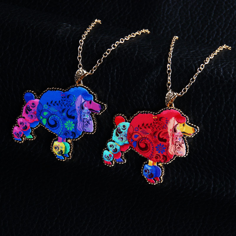 Acrylic Colorful Pendant Women Cute Long Necklace Poodle Sweater Chain Jewelry 1 Pcs