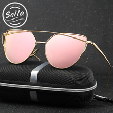 Sella Classic Fashion Cateye Women Sunglasses Retro Colorful Mirror Coating Alloy Frame Sun Glasses Summer Style