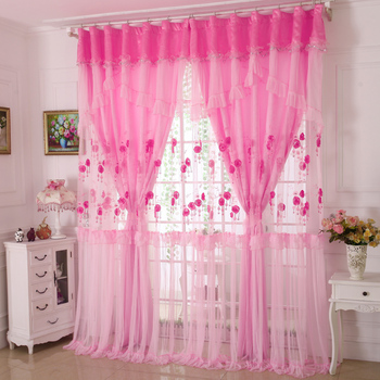 custom curtains Korean high-grade three-dimensional embroidery lace curtains living room bedroom cloth sheer curtain tulle E283
