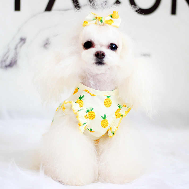 Лето домашнее животное кошка платье для маленький средний собаки Костюм чихуахуа, домашние животные Костюмы для собак юбка сладкие фрукты с принтом собаки платье Mercerie