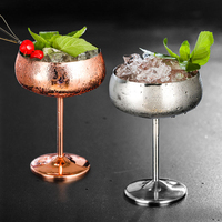 Stainless steel wide mouth cocktail glass creative metal cocktail cup bar restaurant party champagne glass wine goblet