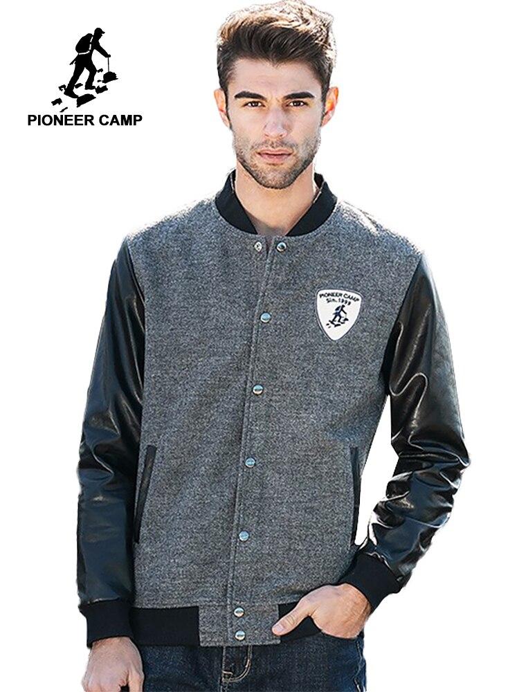 44f334c2be Pioneer Obóz nowa Wiosna kurtka mężczyźni marka odzież moda płaszcz  mężczyzna Skórzana kurtka baseball mężczyźni bombowiec kurtka dla mężczyzn  622022
