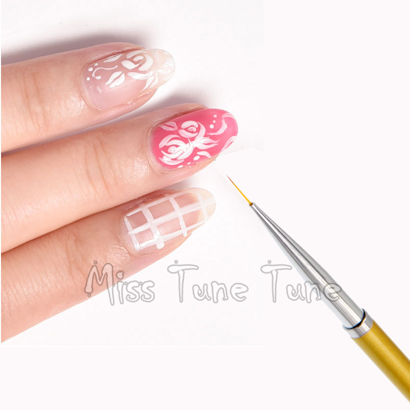 1pcs Gold Nail Art Lining Drawing Brush Pen Acrylic Gel