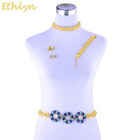 Ethlyn Saudi Arabia Ethiopian Arab Jewelry Sets Yellow Gold Plated Crystal Rhinestone Waist Chain Wedding Accessories