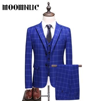 Blue New Groomsman dress Three piece set Plaid Business Casual Suits Trousers Vest Classic Men MOOWNUC Fashion Woollen 4XL 5XL
