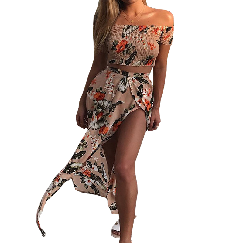 Dresses for women 2018 Amazon AliExpress new word collar short-sleeved printing split dress clothing vestidos HJY7719