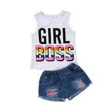 6051d32e7 2018 verano moda chica jefe sin mangas chaleco Tops + pantalones cortos de  mezclilla rasgados Jean 2 piezas traje Niños Niñas Ro.