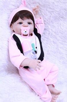 "Lifelike girl doll reborn 22""55cm full body silicone reborn dolls creative child gift toy dolls bebe alive reborn"