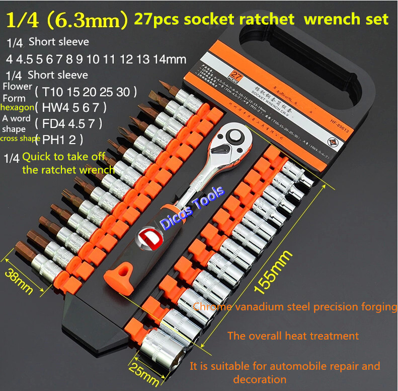 hot selling free shipping 27Pcs 1/4socket ratchet  wrench set xkai 14pcs 6 19mm ratchet spanner combination wrench a set of keys ratchet skate tool ratchet handle chrome vanadium