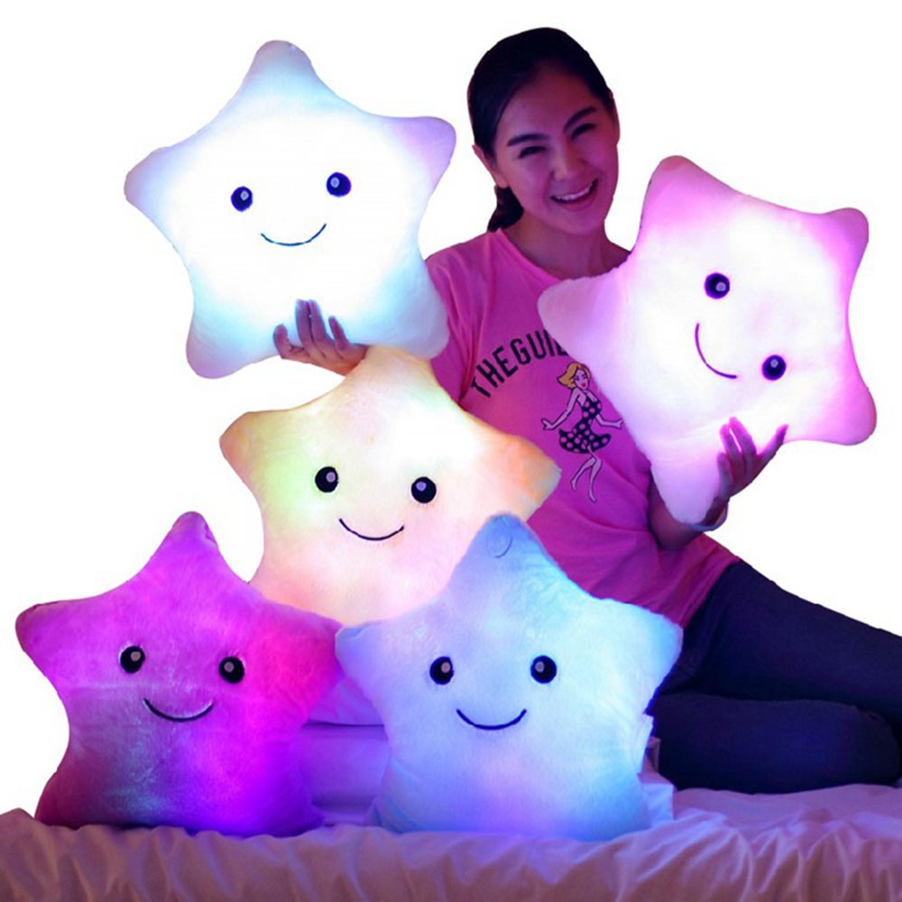 Hot 35*38cm Kawaii Star Pillow Color Change Luminous Pillow with Led Light Soft Stuffed Plush ...