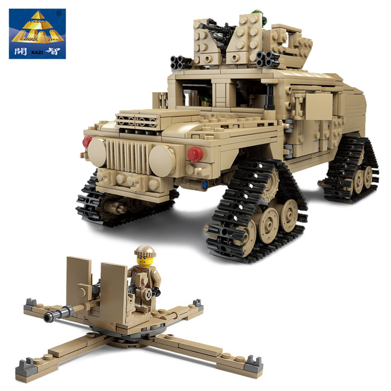 цена на New Kazi Military Tank Collection Series Trans Toys 1:28 ABRAMS MBT And 1:18 HUMMER Scale Model Building Blocks Architecture