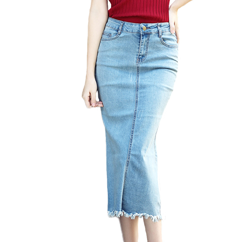 2017 new S 3XL Women Plus Size Pencil Denim Skirt High Waist Blue ...