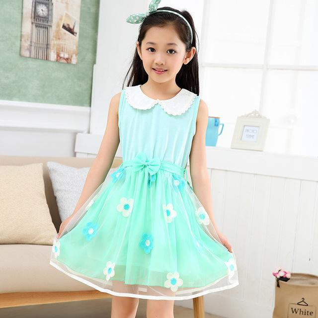 Verano Nuevos Desgaste de Los Niños de La Princesa Vestido de Encaje Vestido de Tirantes Niños Ropa de Flores Arco de la Rosa Azul Amarillo