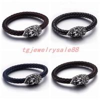 Silver Tone Stainless Steel Lion Head Clasp Bracelet Men S Fashion Jewelry 8mm Red Blue Orangle