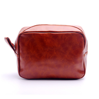 Wholesale And Retail Men S Personalized Shaving Bag Faux Leather Zipper Groomsman Bags Fathers Day Gift