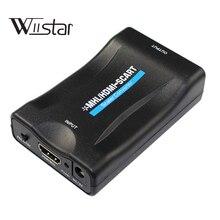 Convertidor de 1080p HDMI a Scart, kabel con fuente de alimentación para PS4, DVD, ect a TV antigua con scart