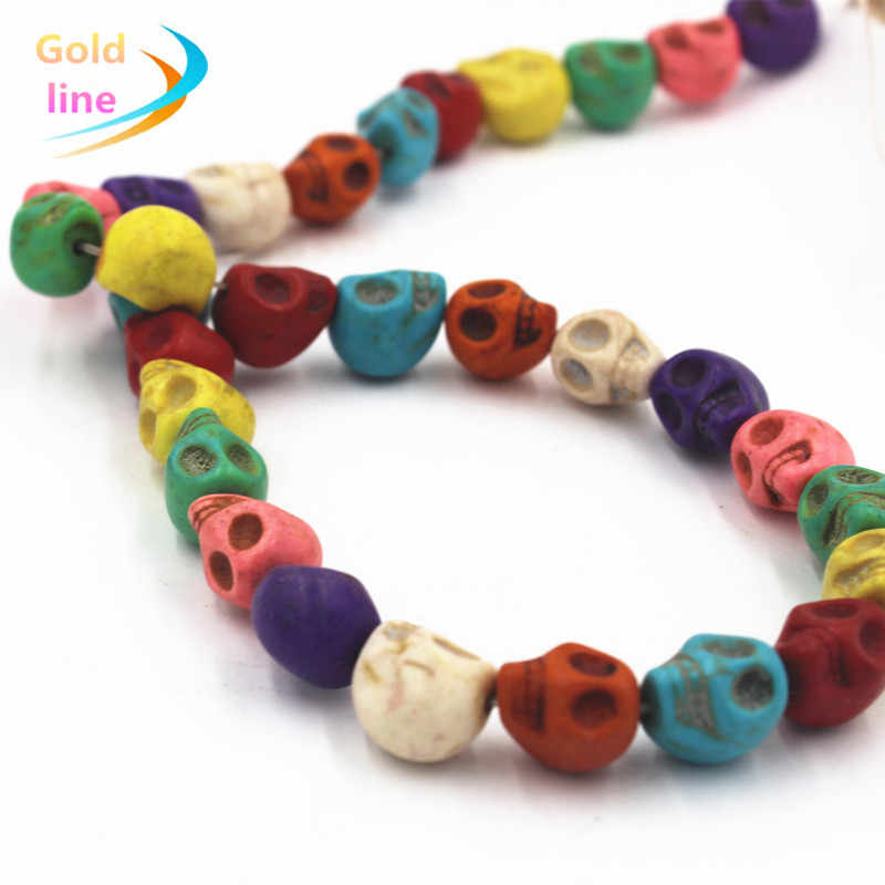 Multicolor  Skull Loose  Beads 10MM/12 mm Black Natural Skull Beads Fit Jewelry DIY making