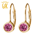 GemStoneKing Classic  14K Yellow Gold Fine Jewelry 0.48 Ct Round Pink Tourmaline Antique Style Earrings For Women