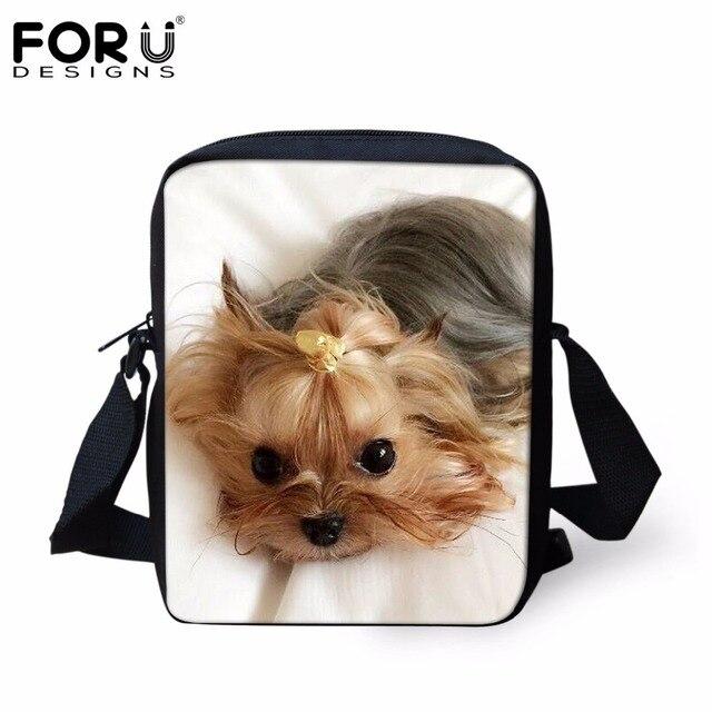 FORUDESIGNS Mulheres Messenger Bags Bonito Estampas de Animais Cão Yorkshire Pequeno Bolsas Messenger Bags para Senhoras Design Da Marca Mochil