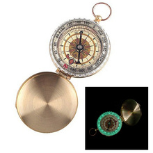 Outdoor Survival Camping Hiking Portable Brass Pocket Watch Style Golden Compass Navigation Kompas  for Outdoor Activities