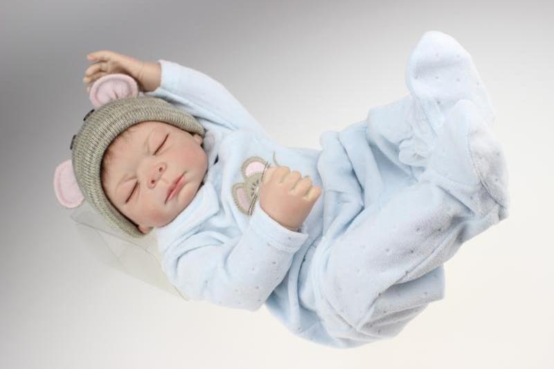 "Buy 20"" Full Silicone Body Mouse Attire Boy Doll Lifelike Reborn Baby Sleeping Nursery Training Women Treats"