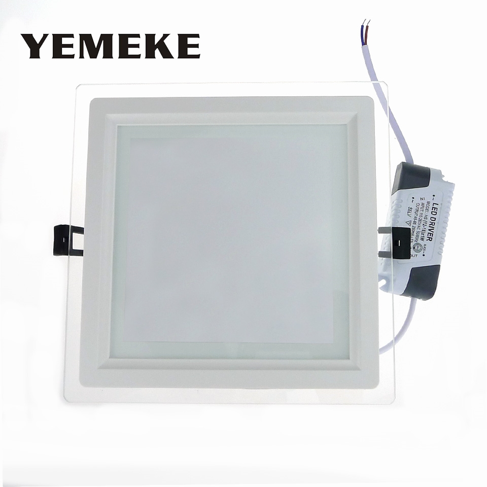Dimmable Glass LED Panel Lights Square LED Ceiling Lamp Spot Light 6w 9w 18w LED Recessed Lighting Fixtures Warm Cool White Bulb