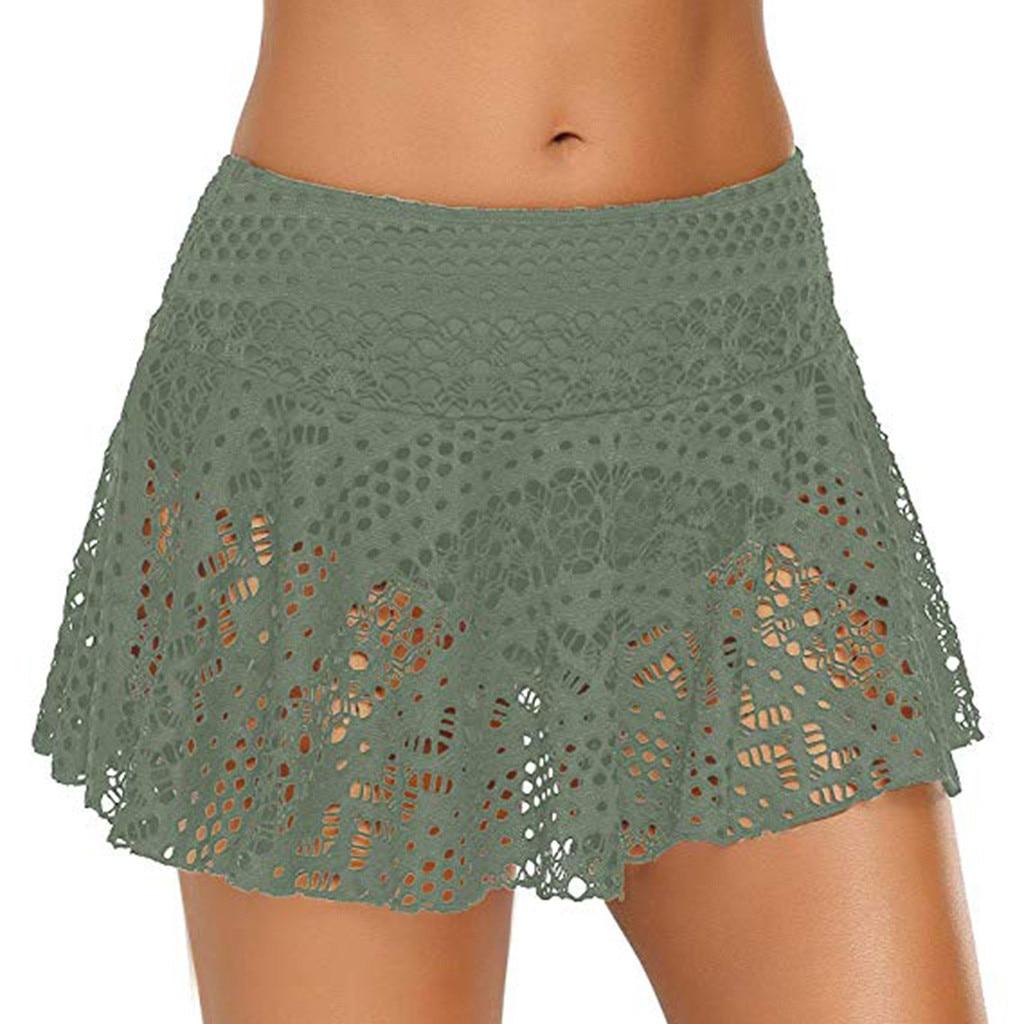 Women's Lace Crochet Skirted Bikini Bottom Swimsuit Short Skort Swim Skirt Swimming Trunks Swimsuit Summer Wear